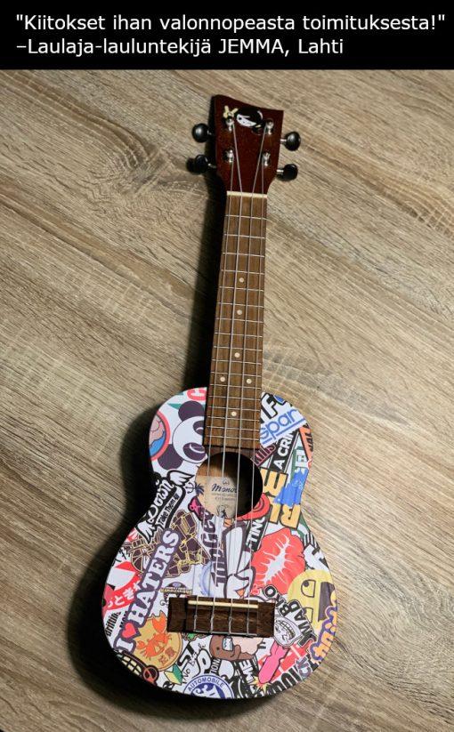 Ukulele-kitara yliteippaus
